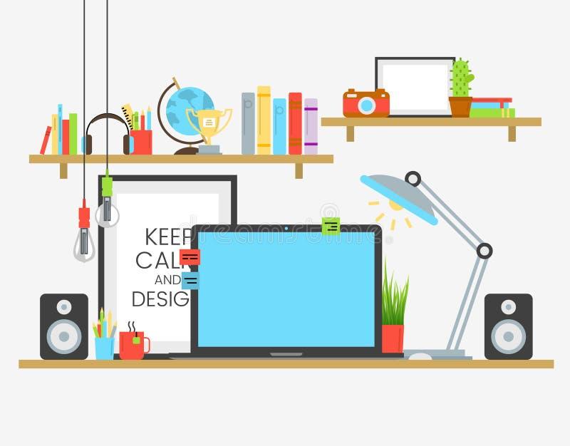 Werkende plaats van creatief team in vlak ontwerp over houten lijst Het ontwerperwerk stock illustratie