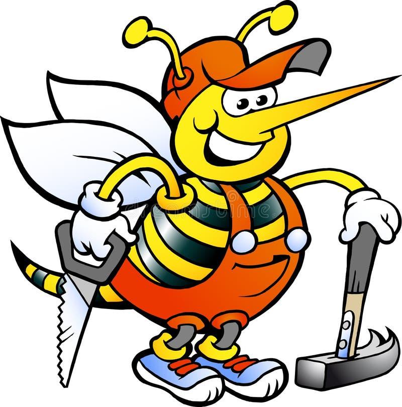 Werkende Timmerman Bee royalty-vrije illustratie