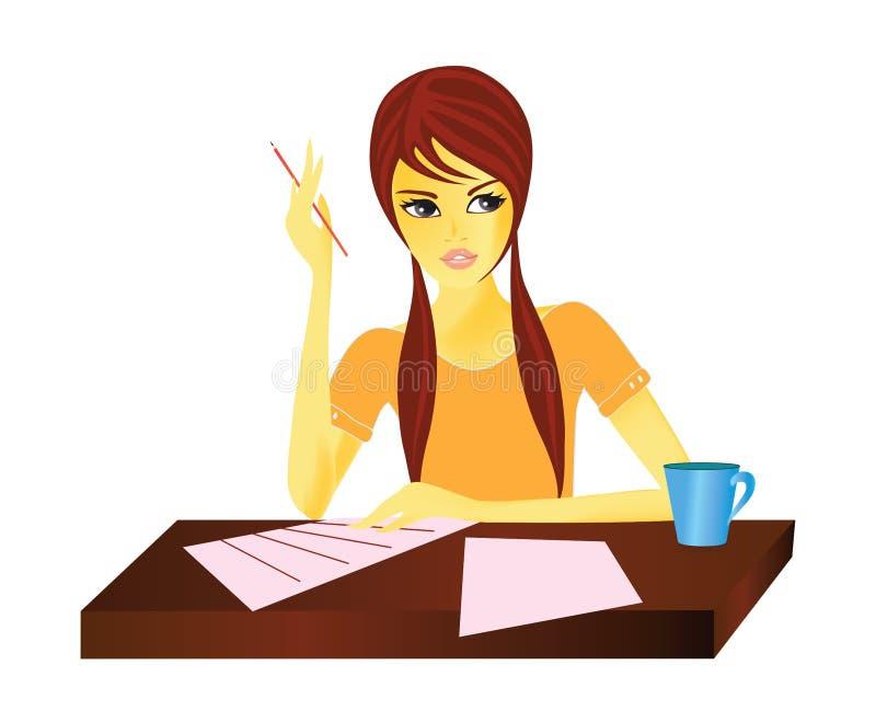 werkende vrouw vector illustratie