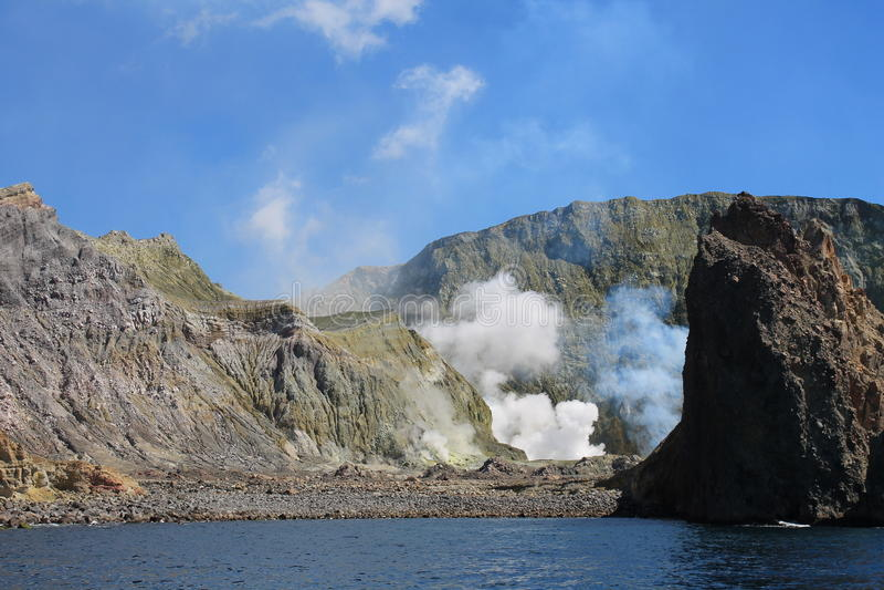 Werkende Vulkaan van Wit Eiland royalty-vrije stock foto's