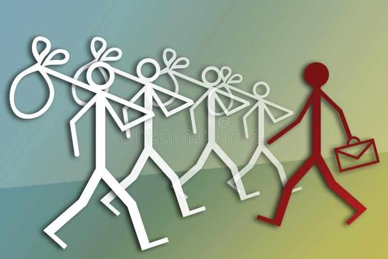 Werkgelegenheid en werkloosheid stock illustratie