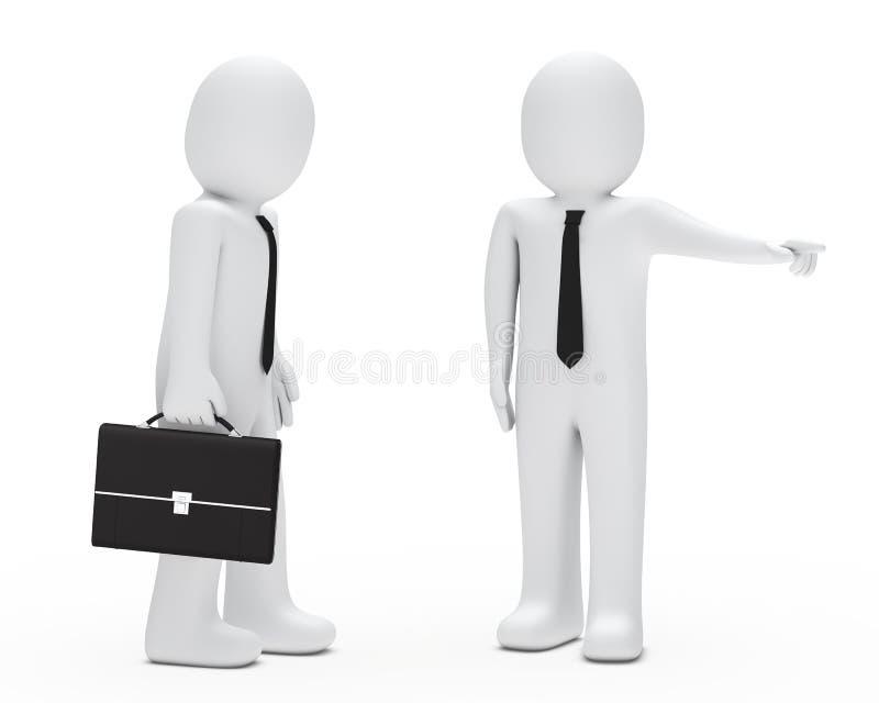 Werkgever in brand gestoken zakenman royalty-vrije illustratie