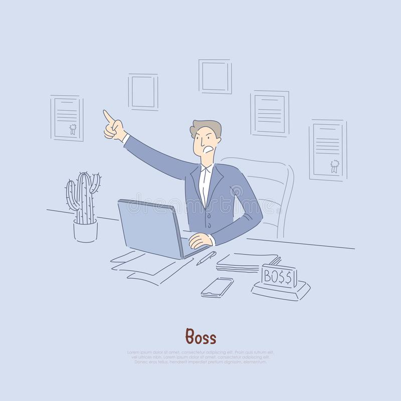 Werkgever die bevelen, gekke beambte in kostuum, bedrijfeigenaar in bureau, voorraadmakelaar bij computerbanner verspreiden royalty-vrije illustratie