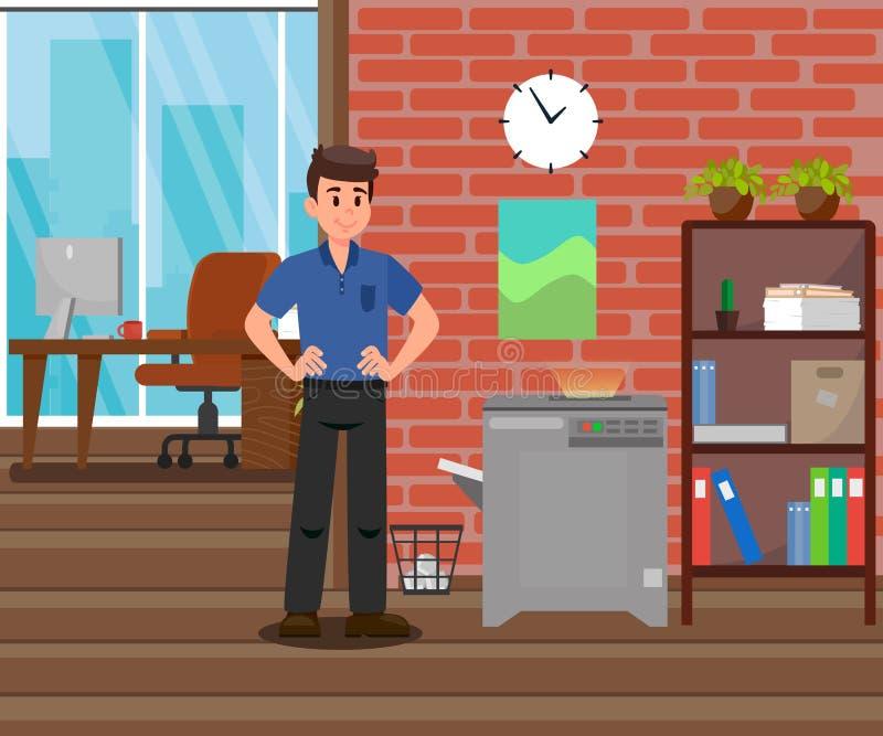 Werkgever die zich dichtbij de Illustratie van de Exemplaarmachine bevinden vector illustratie