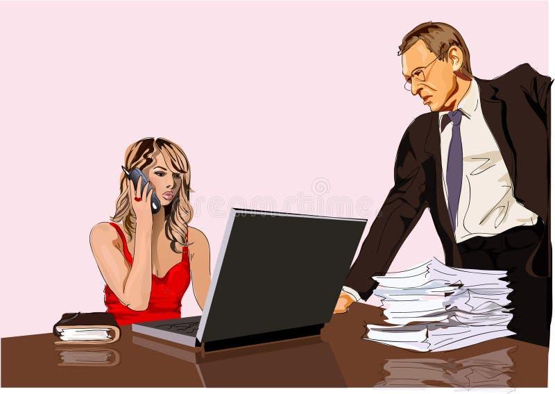 Werkgever en secretaresse royalty-vrije illustratie