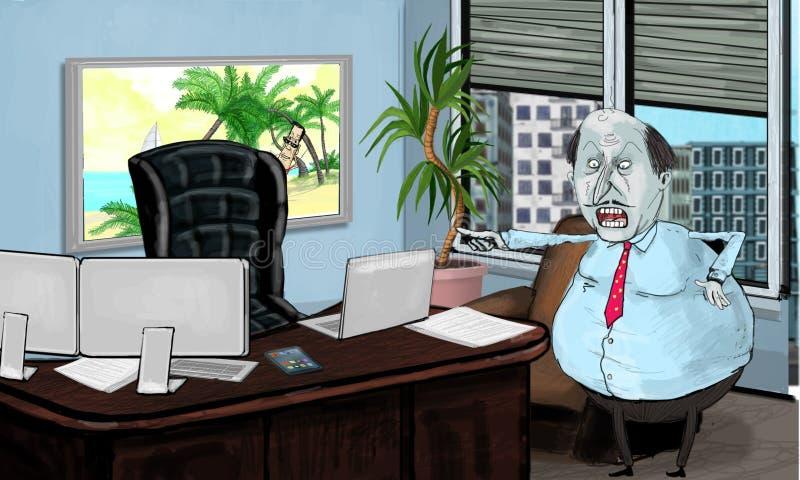 Werkgever in het bureau stock afbeelding