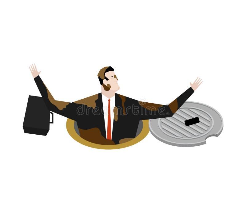 Werkgever in mangat ondergronds riool de zakenman viel Riool hatc vector illustratie