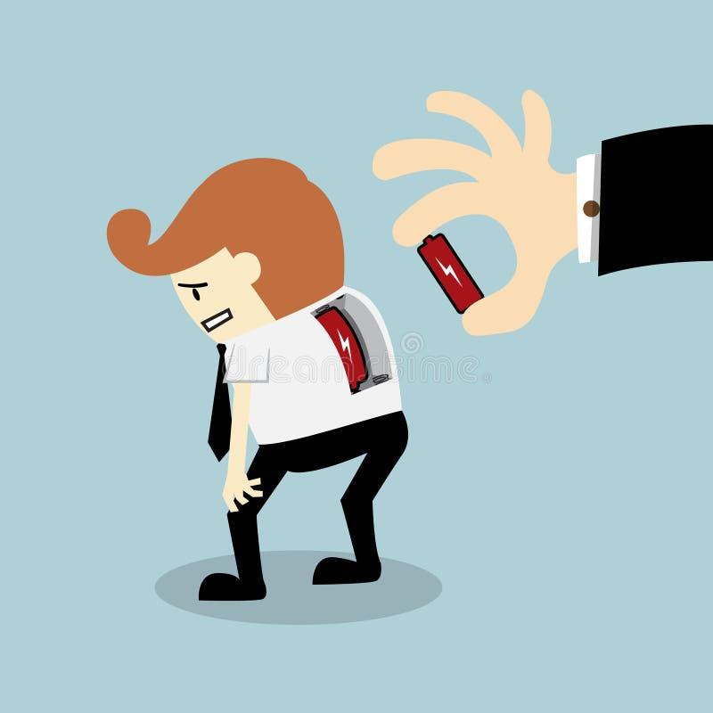 Werkgever voorgelegde batterij aan zijn werknemer stock illustratie