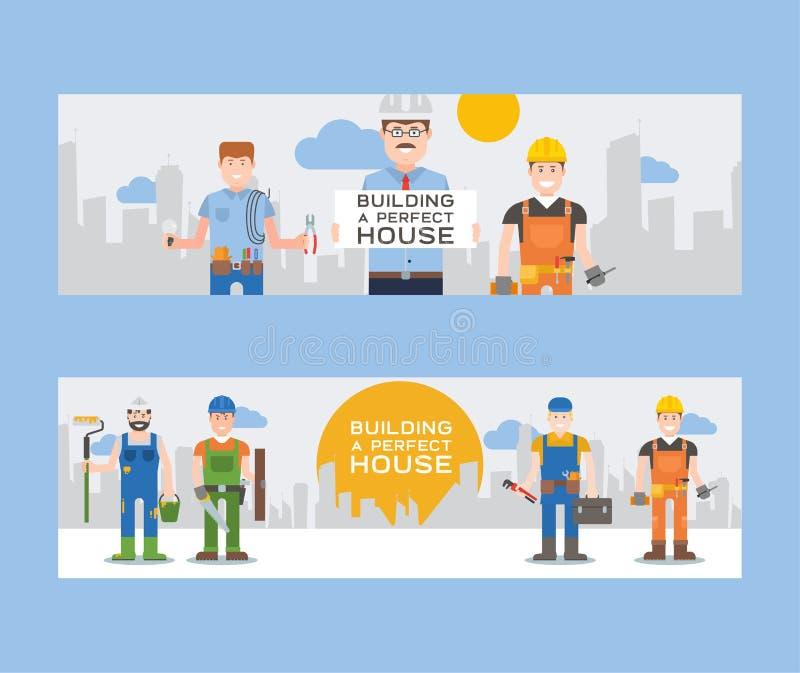 Werkliedenbouwers en ingenieurs met hulpmiddelen of tegelsreeks van banners vectorillustratie Arbeiders in de ladder van de bouwv royalty-vrije illustratie