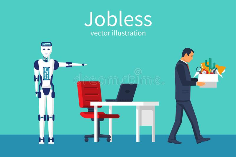 Werkloos concept De robot kwam om de mens te vervangen royalty-vrije illustratie