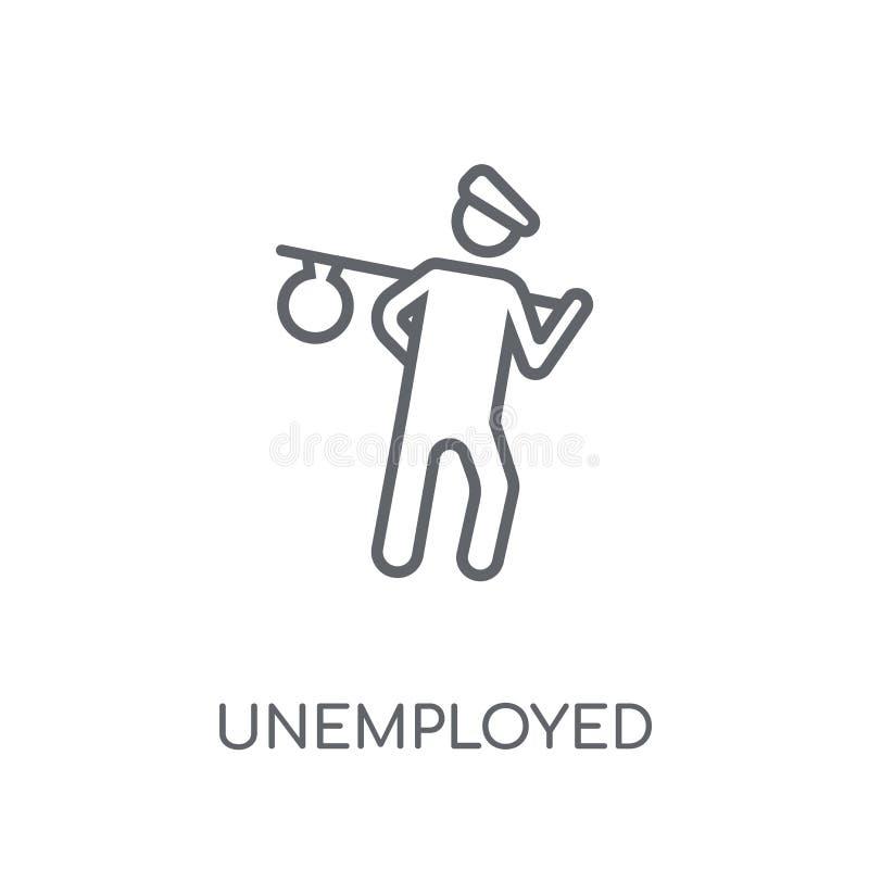 Werkloos lineair pictogram Het moderne concept o van het overzichts Werkloze embleem vector illustratie