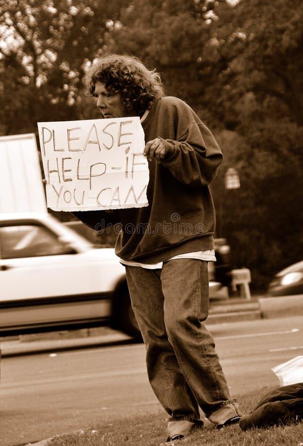 Werkloze die om Hulp vraagt stock afbeeldingen