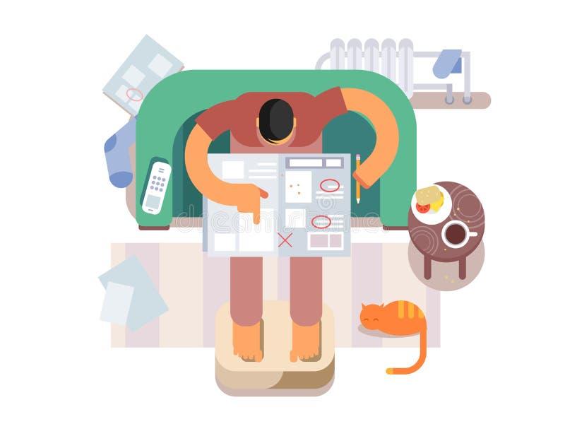 Werklozen die een baan in de krant zoeken vector illustratie