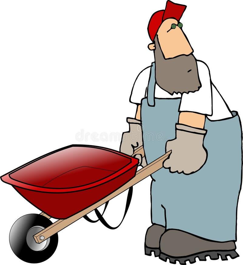 Werkman Die Een Kruiwagen Duwt Stock Foto