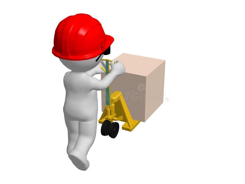 Werkman met de rode vrachtwagen van de bouwvakker duwende pallet royalty-vrije illustratie