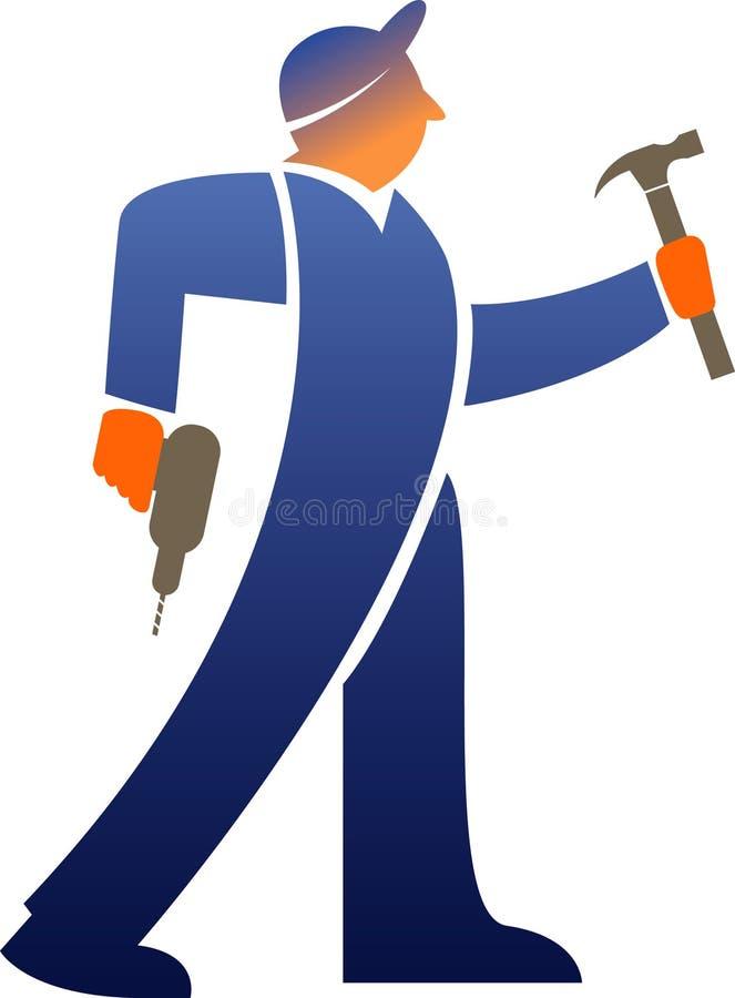 Werkman met hulpmiddelen stock illustratie