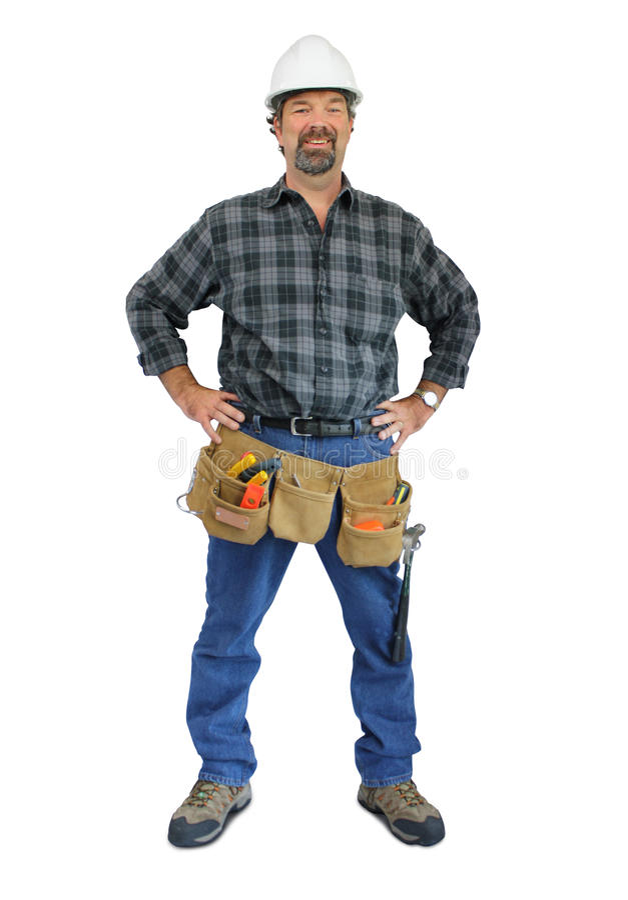 Werkman met hulpmiddelriem stock afbeelding