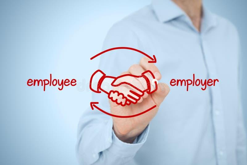 Werknemer en werkgever stock foto