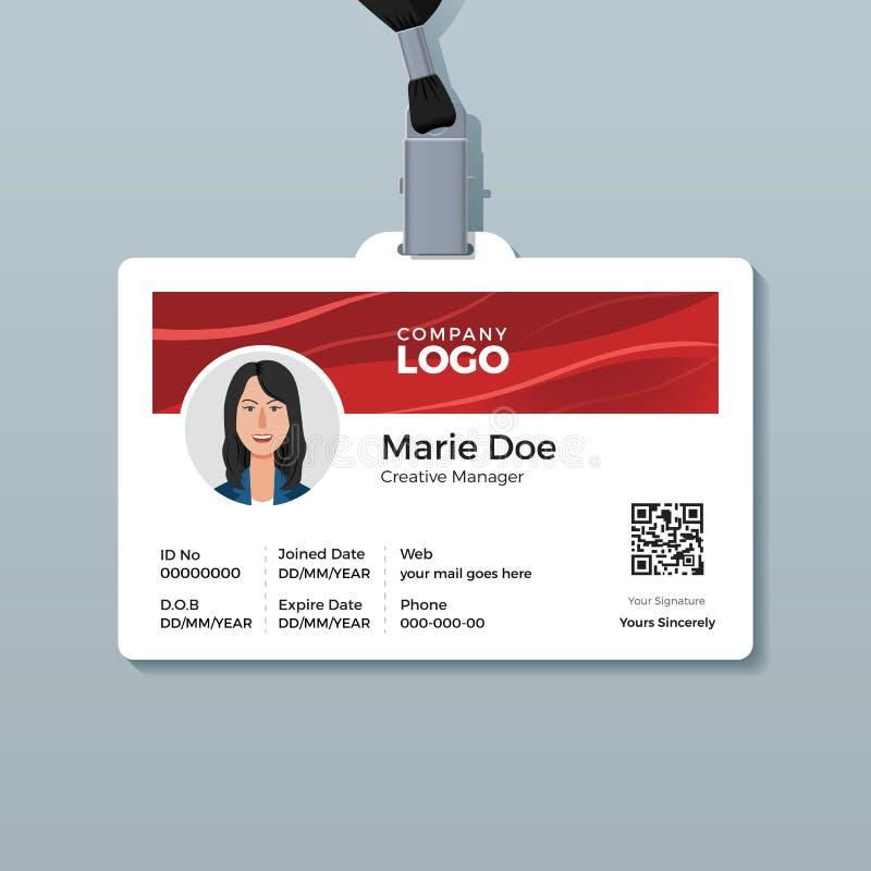 Werknemer-IDkaart met Glanzende Rode Golfachtergrond vector illustratie