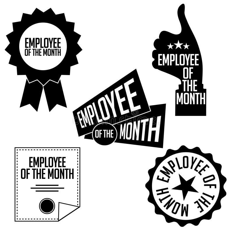 Werknemer van de maand zwart-witte pictogrammen en de zegels stock illustratie