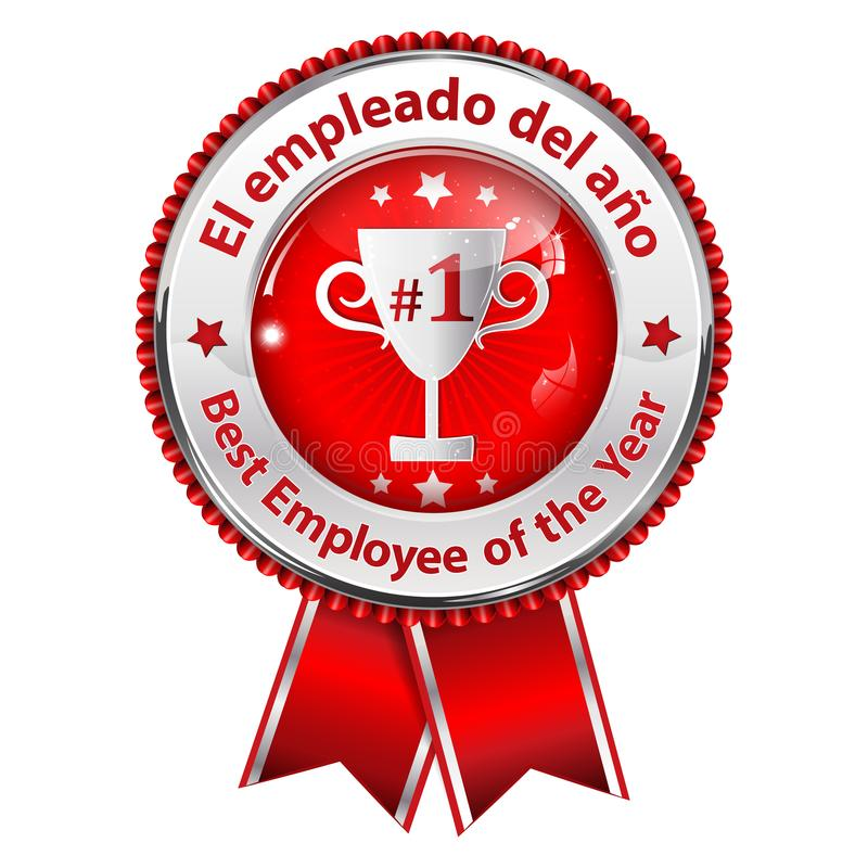 Werknemer van het Jaar - tweetalig Spaans en Engels toekenningslint voor bedrijven stock illustratie