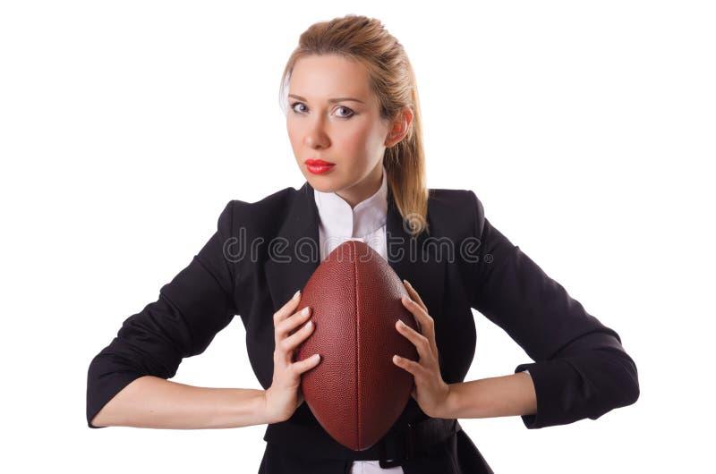Werknemer van het Preetybureau met de geïsoleerde rugbybal royalty-vrije stock afbeelding