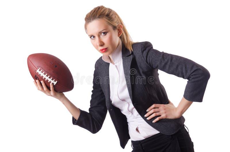 Werknemer van het Preetybureau met de geïsoleerde rugbybal royalty-vrije stock foto's
