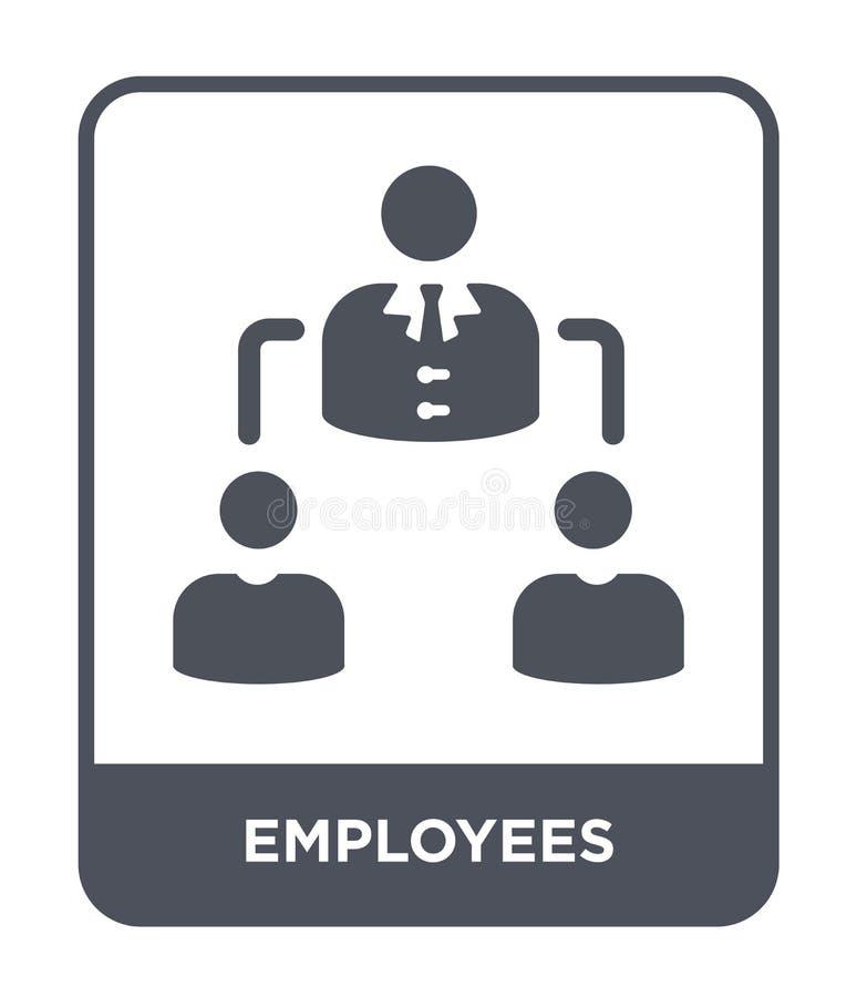 werknemerspictogram in in ontwerpstijl werknemerspictogram dat op witte achtergrond wordt geïsoleerd eenvoudige en moderne vlakte stock illustratie