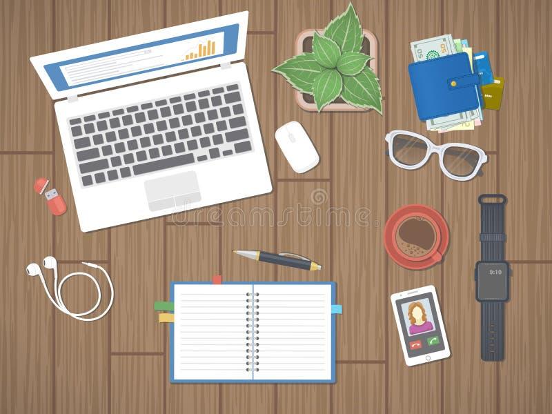 Werkplaats in bureau Het werk in een team, het Werkactiviteit Het materiaal van het bureauwerk op een houten lijst stock illustratie