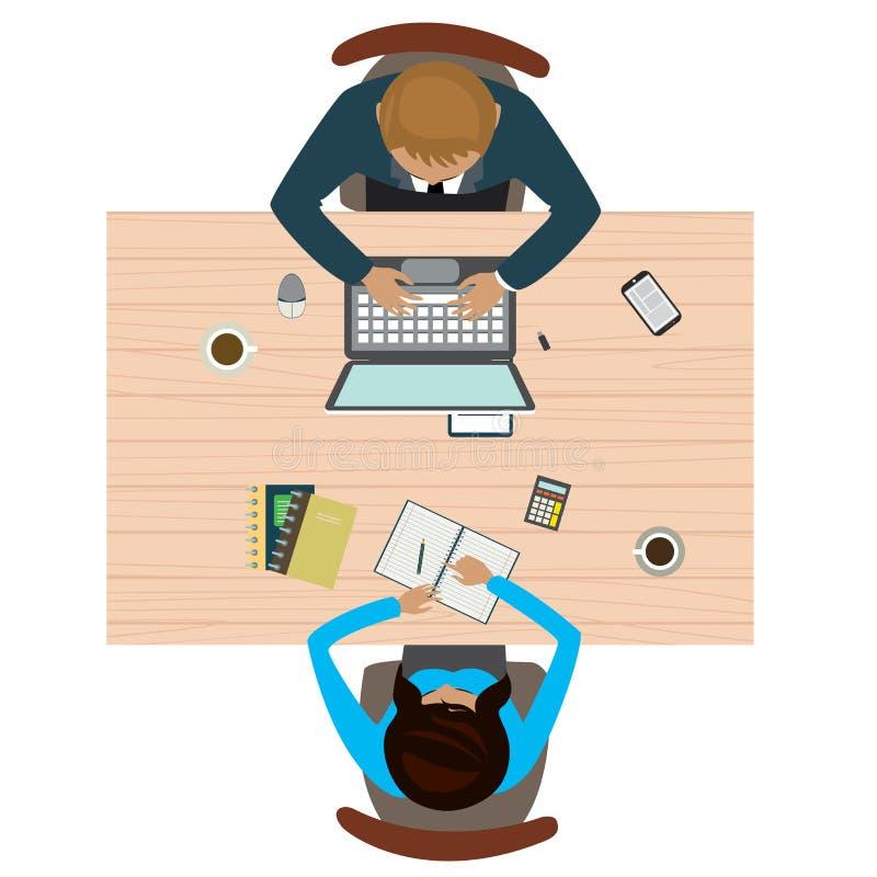 Werkplaats in bureau hoogste mening Bedrijfs het raadplegen concept royalty-vrije illustratie