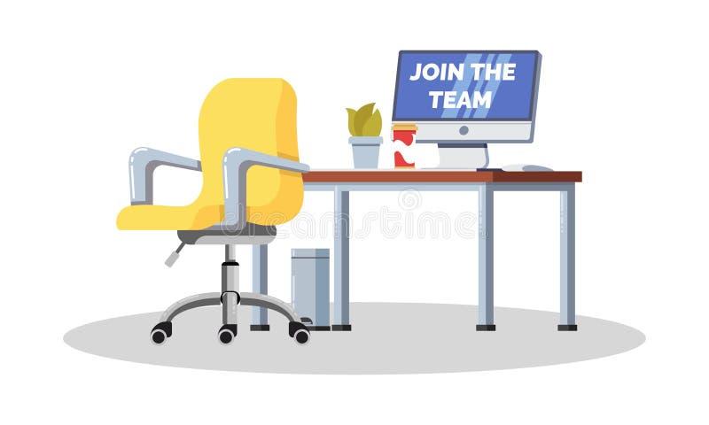 Werkplaats in bureau met bureau, lege stoel, computer, koffie, installatie in pot vector illustratie