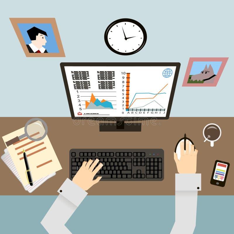 Werkplaats met Handen en Infographic in Vlakte royalty-vrije illustratie
