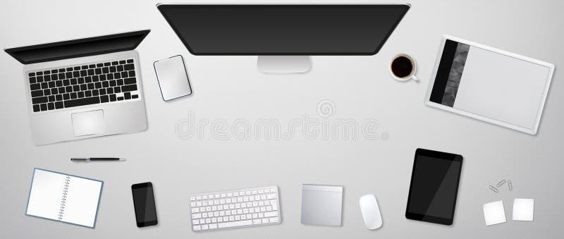 Werkplaats met technologie-apparaat vector illustratie