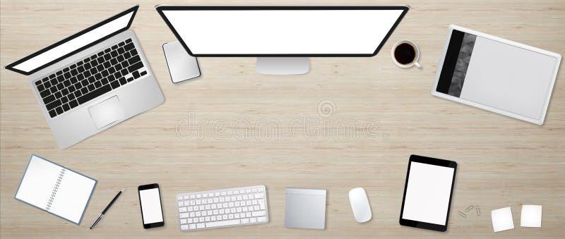 Werkplaats met technologie-apparaat royalty-vrije illustratie