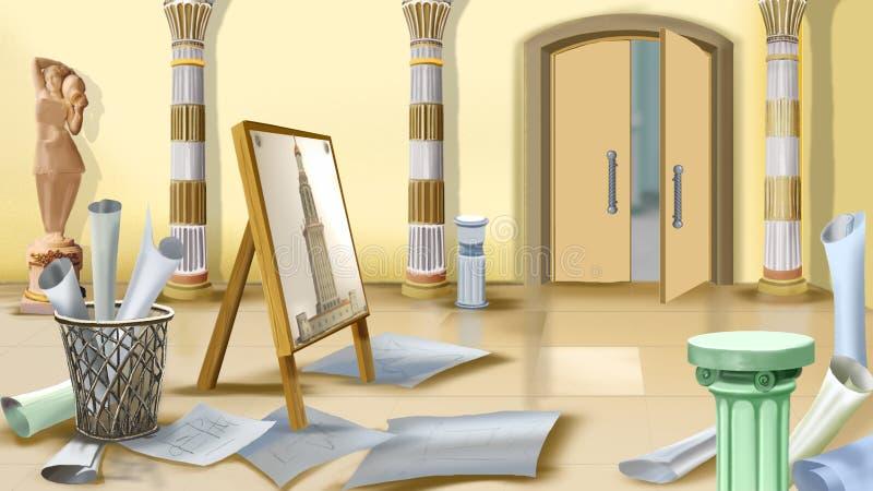 Werkplaats van architect stock illustratie