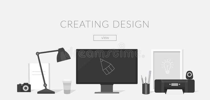 Werkplaats van de ontwerper en de Illustrator vector illustratie