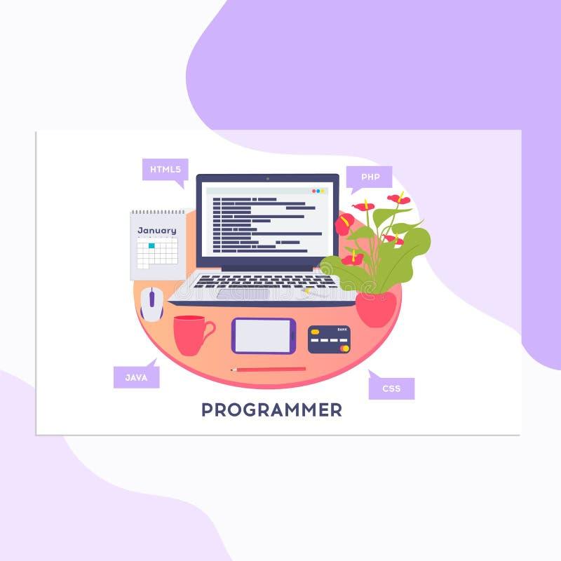 Werkplaats van programmeur of codeur Vectorillustratie, programmeur die een nieuw project coderen die computer, Webontwikkeling,  royalty-vrije illustratie