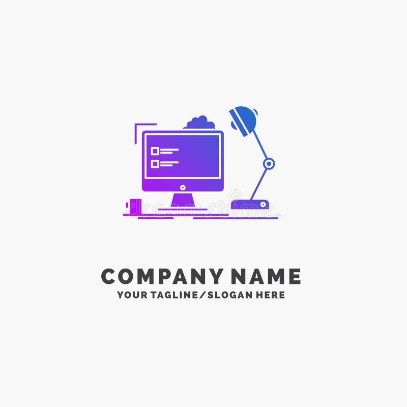 werkplaats, werkstation, bureau, lamp, computer Purpere Zaken Logo Template Plaats voor Tagline vector illustratie