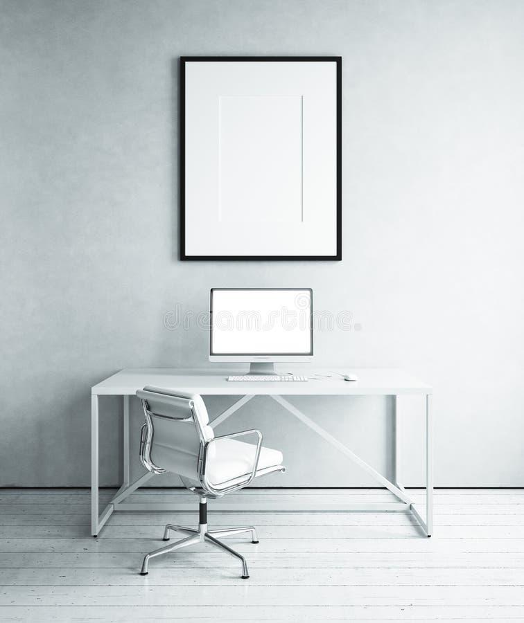 Werkplaats in witte ruimte stock foto's