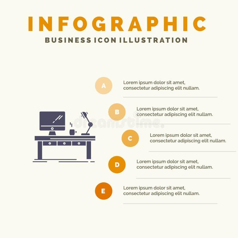 Werkplaats, Zaken, Computer, Bureau, Lamp, Bureau, Lijst Stevig Pictogram Infographics 5 de Achtergrond van de Stappenpresentatie royalty-vrije illustratie