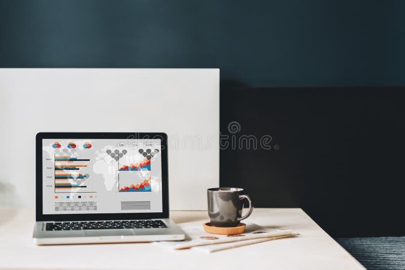 Werkplaats zonder mensen, close-up van laptop met grafieken, grafieken, diagrammen op het scherm op witte lijst, bureau royalty-vrije stock afbeelding