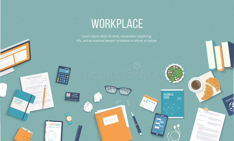 Werkplaatsachtergrond Hoogste mening van een lijst met monitor, boeken, documenten, omslag, blocnotes royalty-vrije illustratie