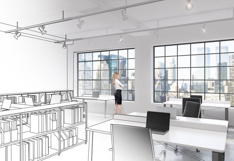 Werkplaatsen in het moderne bureau van de zolderopen plek royalty-vrije illustratie