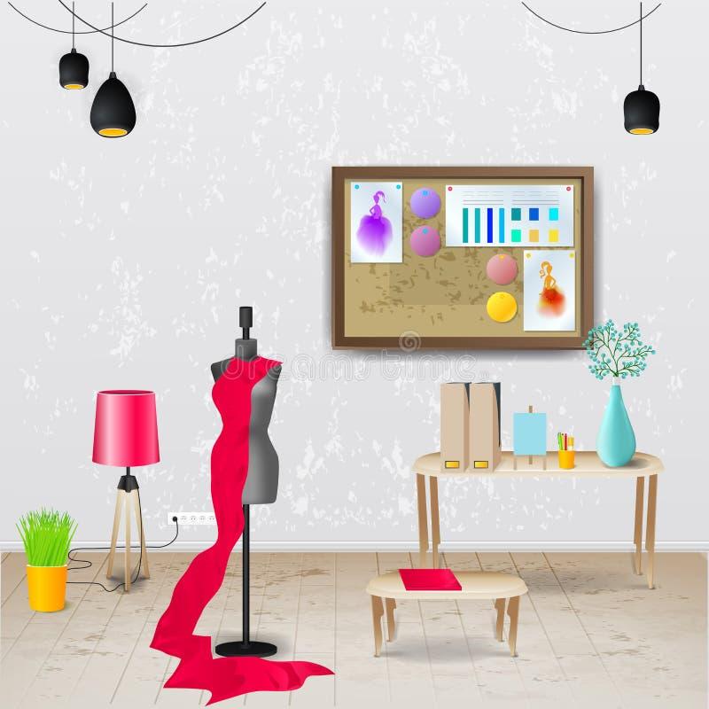 Werkplaatszaal Vectorillustratie van modern bureau Modieus en modern binnenland vector illustratie
