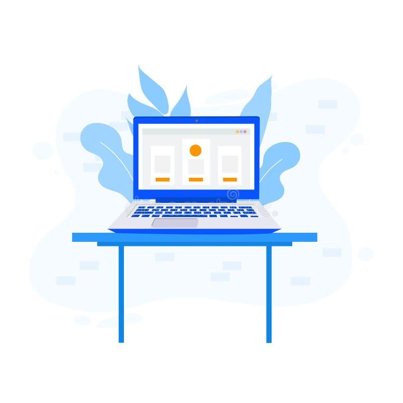 Werkruimte, analytics, optimalisering, beheer Modern vectordieillustratieconcept, op witte achtergrond wordt geïsoleerd vector illustratie