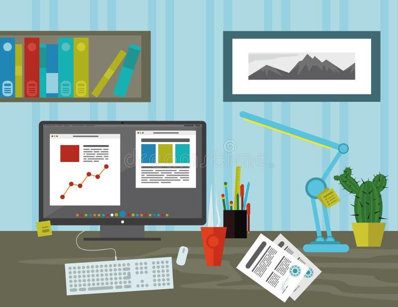 Werkruimte in het bureau stock illustratie