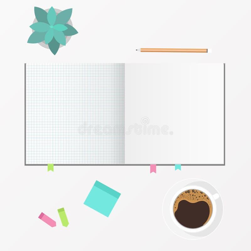 Werkruimte - Leeg boek open met koffiekop en bureauelement Hoogste mening vector illustratie