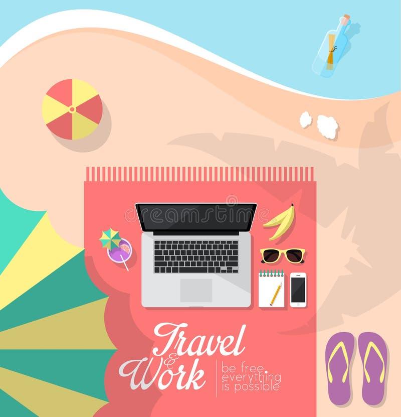 Werkruimte op het strand stock illustratie