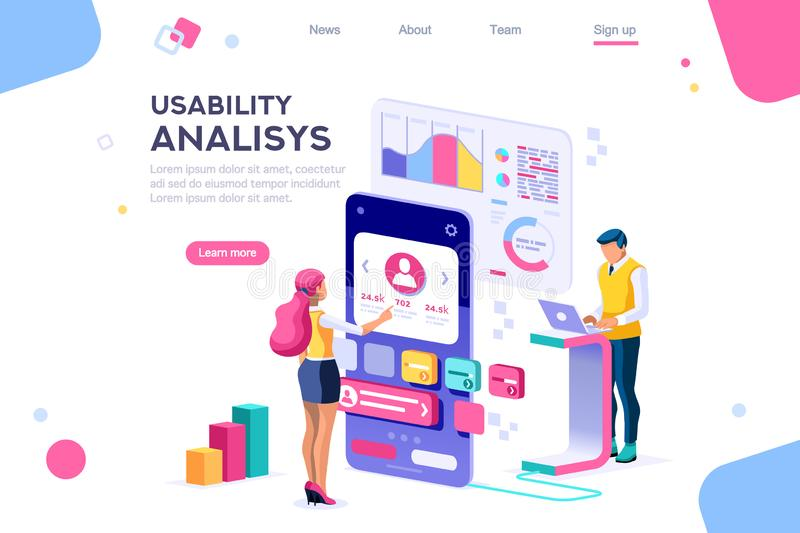 Werkruimte van het klanten de Mobiele Gebruikersinterface vector illustratie