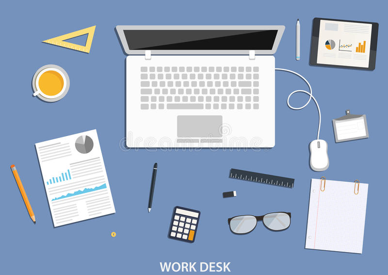 Werkruimte, vlak Desktopontwerp met bedrijfspictogrammen vector illustratie